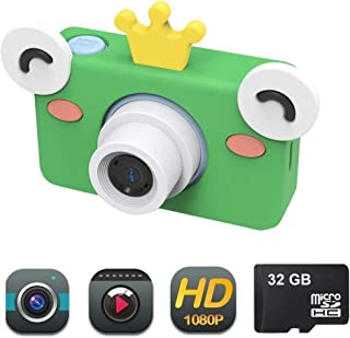 DENT Camera for Kids Toy Camera HD 8MP Video Digital Camera Camcorder for Girls and Boys Includes 32gb microSD Card (Frog Camera)