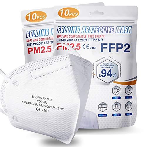 20 Unidades Mascarillas FFP2 Homologadas Certificadas CE,  Máscara Antipolvo de 5 Capas, 94% Eficiencia Filtración,  Mascarilla FFP2 de Protección Personal