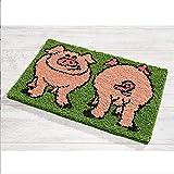 Latch Hook Alfombra Patrón De Pig Patrón De Crocheting Alfombra Alfombra Hilado Ganchillo Tapicería DIY Alfombra Artes - Artesanías con Patrón Impreso(Size:52x38cm)