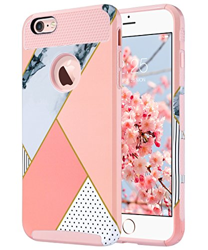 ULAK iPhone 6S Plus Case, iPhone 6 Plus Case, Slim Scratch Resistant Hard Back Cover Shockproof TPU Bumper Protection Case for Apple iPhone 6/6S Plus 5.5 inch-Pink Geometric Marble -  ULAKUACC017D041