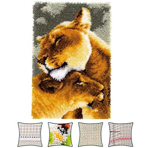 Color Lienzo Lion DIY Pestillo Hecho A Mano Kits De Gancho Alfombra para Niños/Adultos(Size:52 * 38cm)