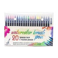 Tickas 20の鮮やかな水彩ブラシペン、柔らかく柔軟なブラシのヒントアーティストペイントマーカー水溶性インク補充可能な水大人の子供のためのブレンドブラシ絵画描画色書道