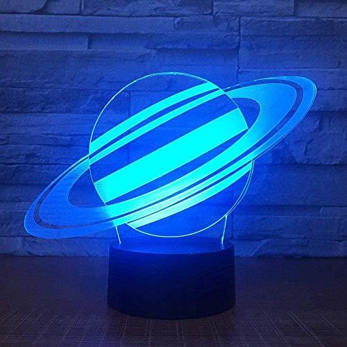 7 Farbwechsel Saturn 3D Illusion Nachtlicht Planet LED USB Tischlampe Schlafzimmer Dekorativ
