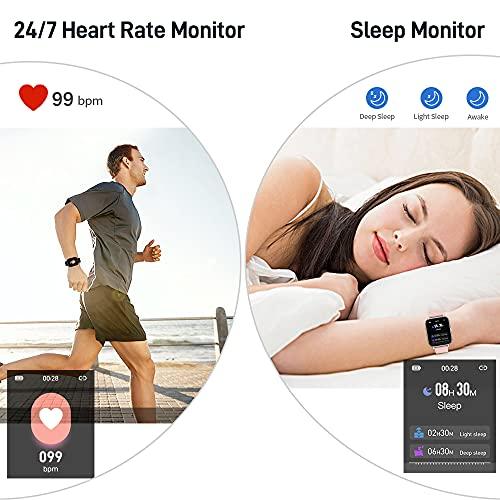 """Smartwatch, 1.69"""" Reloj Inteligente Hombre Mujer Impermeable IP68 Pulsera Actividad 24 Modos Deporte con Pulsómetro Monitor de Sueño Monitores Actividad Cronómetros Calorías Podómetro para Android iOS"""