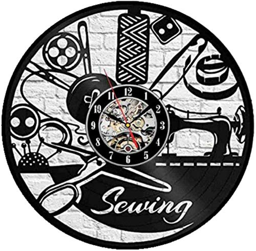 Reloj de Pared de Vinilo Máquina de Coser Disco de Vinilo Reloj de Pared de Vinilo Diseño Moderno Decoración de Dibujos Animados Reloj de Pared Regalo para niños Decoración del hogar