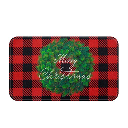 Christmas Buffalo Plaid Area Rug, Red and Black Check Lattice Doormat, Merry Christmas Indoor Floor Mats for Winter, Xmas Soft Flannel Rug for Bedroom Living Room Kitchen, 18 x 30 inch