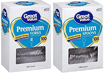 Great Value Party Premium Reliably Strong Plastic Flatware Set - Includes 100 Spoons & 100 Forks