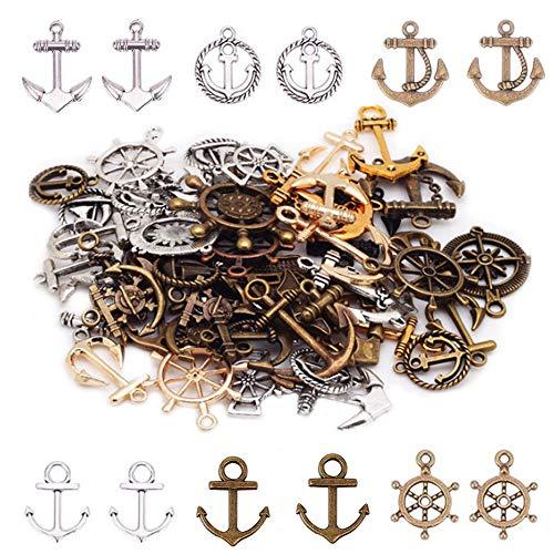 Aweisile Anker Schmuckzubehör Anker Anhänger Bastelanhänger Charm Mini Anker Schiffsanker Tibetischen Stil Anhänger für DIY Handwerk Schmuck Armband Halskette Herstellung 100g