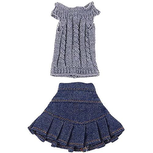 chuangzhao shop Suéter de punto Tops falda traje ropa para 1/6 Blythe Licca OB Nuestra Generación Muñecas Invierno Traje Accesorios Gris y Azul