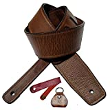 Antigo Adjustable Leather Guitar Strap/Belt for Acoustic/Electric/Folk/Bass Ukulele Guitars (2.25 Inch/6 cm Wide)