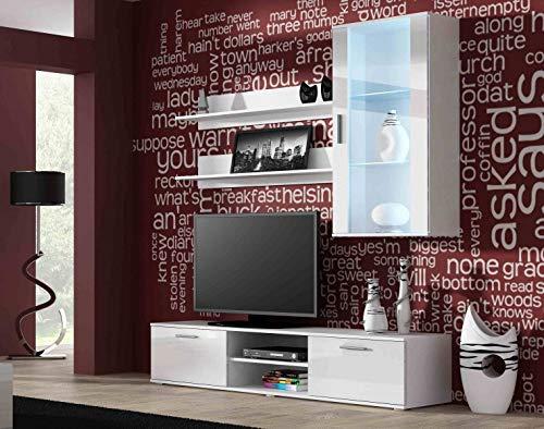 Jadella woonwand ' Soho 5 ' TV muur glazen vitrine televisiekast hoogglans hangkast lowboard wit
