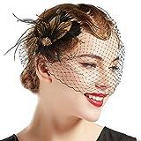 BABEYOND Bridal Wedding Fascinator Mesh Feather Fascinator Hair Clip Tea Party Fascinator Veil Crystal Wedding Veil (Black5)
