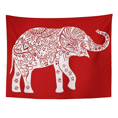 Taysta Tapestry Abstract Smile Elephant Mandala Flower Wall Hanging Red Retro Indian Paisley Animal Tattoo Geometric Tapestries Picnic Mat Beach Towel 50x60 Inches Home Decor For Bedroom Outdoor