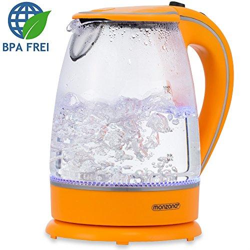 monzana Wasserkocher Teekessel Teekocher 1,7 L orange 2200 Watt LED Innenbeleuchtung 360° kabellos BPA frei