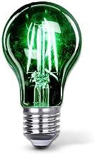 Green Led Light Bulb A19 3.5 Watt E26 Medium Base 27,000 Hour Lifespan Clear Glass Lights up Green Saving Energy Dimmable (Green)
