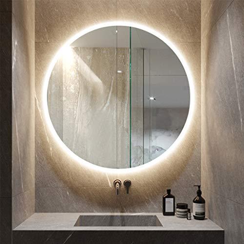 Wall-Mounted Mirrors Specchio Senza Cornice a Parete, Bagno Rotondo con Specchio a Emissione di Luce A LED Smart White/Warm Light, (Diametro: 60 Cm, 70 Cm)