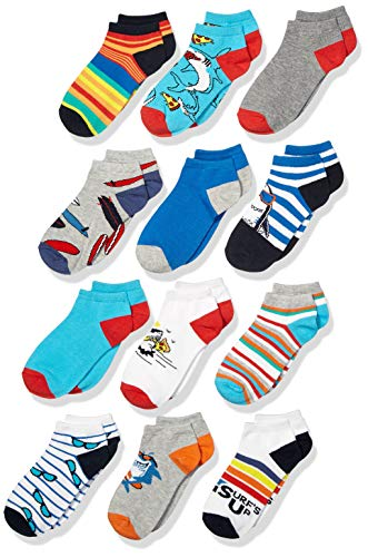 Spotted Zebra Boys' Kids Cotton Ankle Socks, 12-Pack Funny Sharks, Small