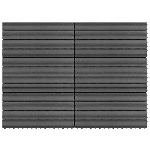 Goliraya Pannelli in WPC 6 pz 1m² Grigio,Listoni in WPC,Pavimenti in WPC,Pavimenti a Listoni in WPC 60x30 cm