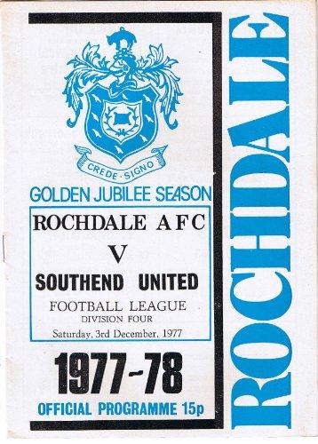 Rochdale v Southend United FC 03/12/77 (Spotland) football programme