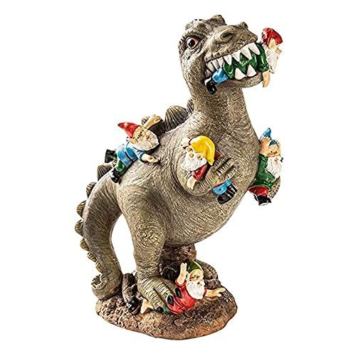 Dinosauro Mangiare Gnomi Giardino Statua Outdoor Indoor Home Art Decor, Resina Dinosauro & Gnomi Figurine Scultura Giardino Fiao Miniatura Ornamenti Decorativi per Cortile Patio Prato Giardinaggio