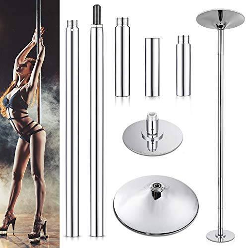 Yesker Stripper Pole Professional Spinning and Static Dance Pole Heavy Duty Load Max 450 lbs Height Adjustable 45mm Tube Thicker 2.2mm for Fitness Exercise Dance Home Pub Party Gym