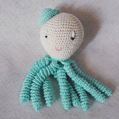 Octopus Amigurumi für Neugeborene in Aquamarin Farbe. Gehäkelte Krake - für Baby häkeln.