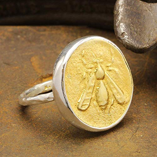 Ancient Greek Art Greece Ephesus Tetradrachm with Honey Bee Coin Ring 925 Sterling Silver 24K Yellow Gold Vermeil Two Tone Handcrafted Hammered Artisan Signet Roman Art Designer Jewelry