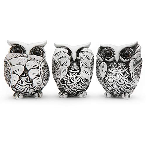 Rockin Owl Figurine Family Set Very Cute Statue White Owl, 3 Separated Different Mood do not See,do not Listen, do not Talk - Nice Decoration for Home Office Outdoors Gardens Set of 3, White/Black
