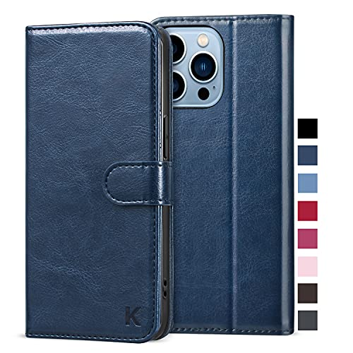 KILINO Wallet Case for iPhone 13 Pro 5G [RFID Blocking] [PU Leather] [Shock-Absorbent Bumper] [Card Slots] [Kickstand] [Magnetic Closure] Flip Folio Cover for iPhone 13 Pro 5G (Blue)
