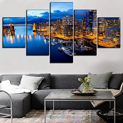 Pintura en lienzo, arte de pared, póster con impresión modular, 5 piezas, construcción de puente de barco, ciudad de Canadá, puerto de Columbia, imágenes de luz 100x50cm Con marco