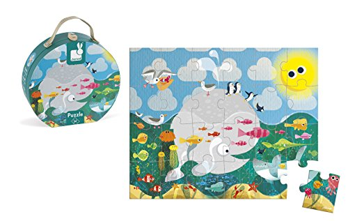Janod - J02858 - Valisette Ronde Puzzle 24 pièces - Océan
