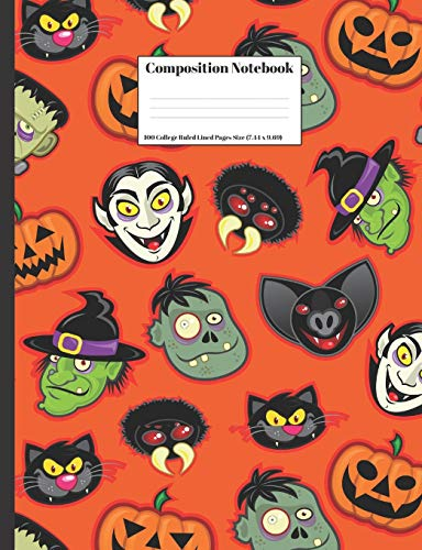 Composition Notebook: Halloween Vampire Monsters Pumpkins Witch  Design Cover 100 College Ruled Lined Pages Size (7.44 x 9.69)