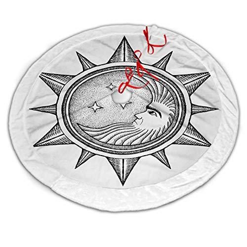 ScottDecor Occult Christmas Tree Skirt Moon Inside The Sun with Stars Alchemy Clandestine Esoteric Solar Crescent Artwork for Xmas Tree Decorations Black Grey 36 Inch