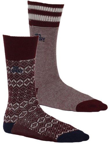 Herren TOKYO LAUNDRY Original 2Pack 'STAFFA (Schottland)' Gemusterte Weiche Baumwolle Socken Gr. 39-42, Oxblood