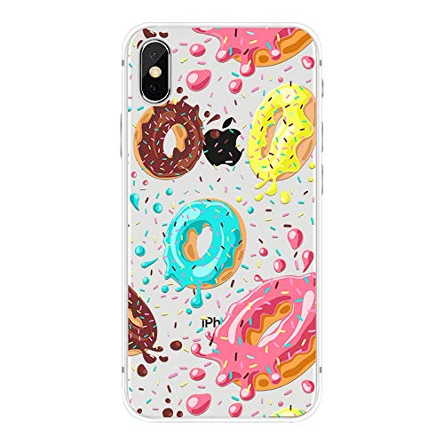 iPhone XR Case,Blingy's New Sweet Food Style Transparent Clear Soft TPU Protective Case Compatible for iPhone XR (Painted Donuts)