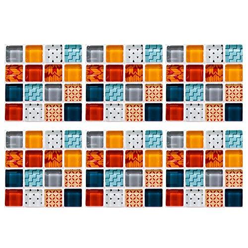 Mosaik Tapete, Fliesenaufkleber für die Küche, 6pcs Küche wasserdichte Fliesen Mosaik Wandaufkleber Kleber Dekor (MSC040)