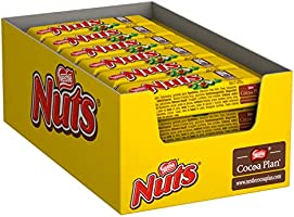 Nestlé NUTS, hazelnoot chocolade met karamelvulling, hele hazelnoten en lekkere snoepcrème, ommanteld met chocolade, 24...