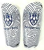 Keeperking Espinilleras de fútbol para adultos, jóvenes, niños, fútbol, calcetines Shin Guard para hombre, chicos y chicas, con protección acolchada para los tobillos (M, azul)