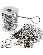 Fotolijst Hanging Wire Kit gevlochten roestvrij staal vinyl gecoate draadspoel 1,5 mm x 100 voet en 30 delen D-ring-fotohanger en 30 schroeven en 30 krimpbuisjes.