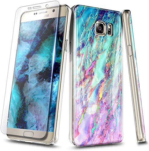 E-Began Case for Samsung Galaxy S7 with Tempered Glass Screen Protector, Ultra Slim Thin Glossy Stylish Protective Marble Design Cover Phone Case -Nova