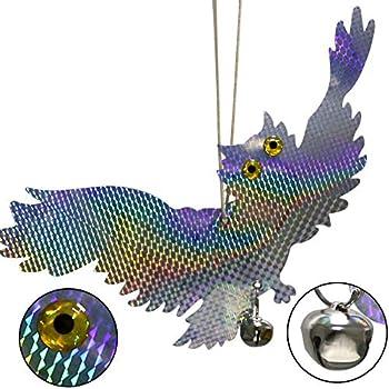 SYXZ Hibou réfléchissant Suspendu épouvantail effraie Les Pigeons d'oiseaux pic repoussant Les Oiseaux, Jardin réfléchissant Laser Faux Hibou Fournitures,A