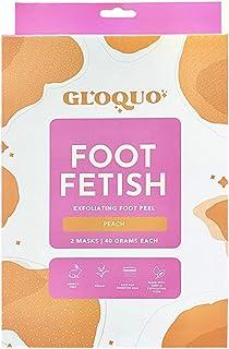 GLOQUO Exfoliating Foot Peel   2 Mask Treatments   Vegan, Cruelty-Free & Paraben-Free (Peach)