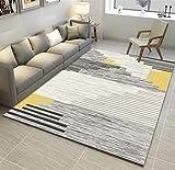 Liveinu Alfombra De Diseño Moderna Contorneada Moquetas Pelo Corto Alfombras Salon con Bases Antideslizantes Patrón de Escandinavia Lavables 140x200cm