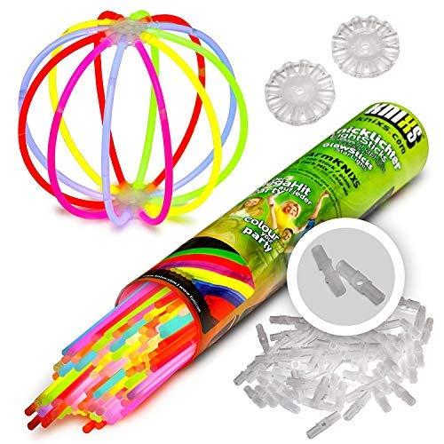 KNIXS 100x Knicklichter für Armbänder im 6 Farb-Mix leuchtend, inkl. 100x 3D-Verbinder und je 2x Ball- und 7-Lochverbinder für Party, Geburtstag, Festival oder Hochzeit - Markenqualität
