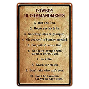 Yawhevg Metal Signs Vintage Retro Gym Wall Decor Home Indoor Tin Sign Cowboy 10 Commandments Basement 8 x 12 inches