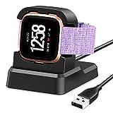 KIMILAR Cargador Compatible con Fitbit Versa/Versa Lite Base de Carga (No para Versa 2), 80° USB Cargador Cable de Carga Adaptador para Versa/Versa Lite, Negro