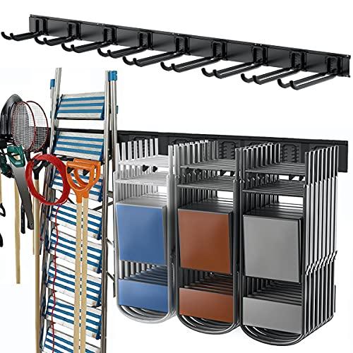 TORACK Garage Storage Tool Organizer 48inch Wall Mount Metal Rack with 8 Hooks Max Load 800lbs, Heavy Duty Tools Hanger for Garage Basement Garden Organization System