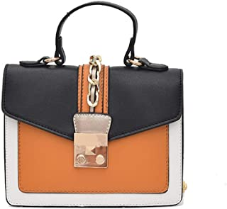 New Exquisite Beautiful Trendy Casual Fashion Handbag Shoulder Slung Small Leather Handbag. jszzz (Color : Orange)
