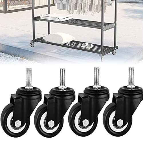 DDCHH Trolley Caster Wheels Furniture Wheels Casters for All Floors Including Hardwood, Tile and Carpet, Heavy Duty Swivel Stem Caster Wheels, Easy to Install,3Inch-WithoutBrake