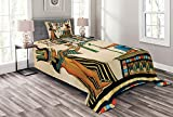 Ambesonne Egyptian Print Bedspread, Old Papyrus Depicting Queen Nefertari Historical Empire Artwork, Decorative Quilted 2 Piece Coverlet Set with Pillow Sham, Twin Size, Beige Orange